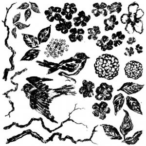 BIRDS BRANCHES BLOSSOMS STAMP