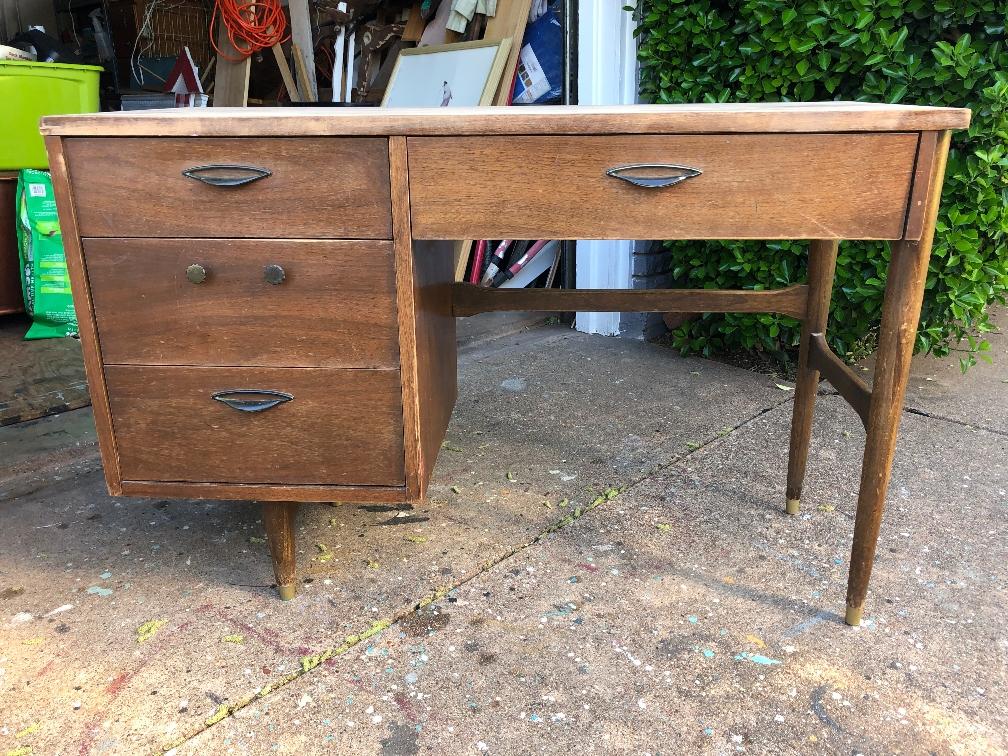 blue star vintage home desk An Unbelievable Mid Century Makeover