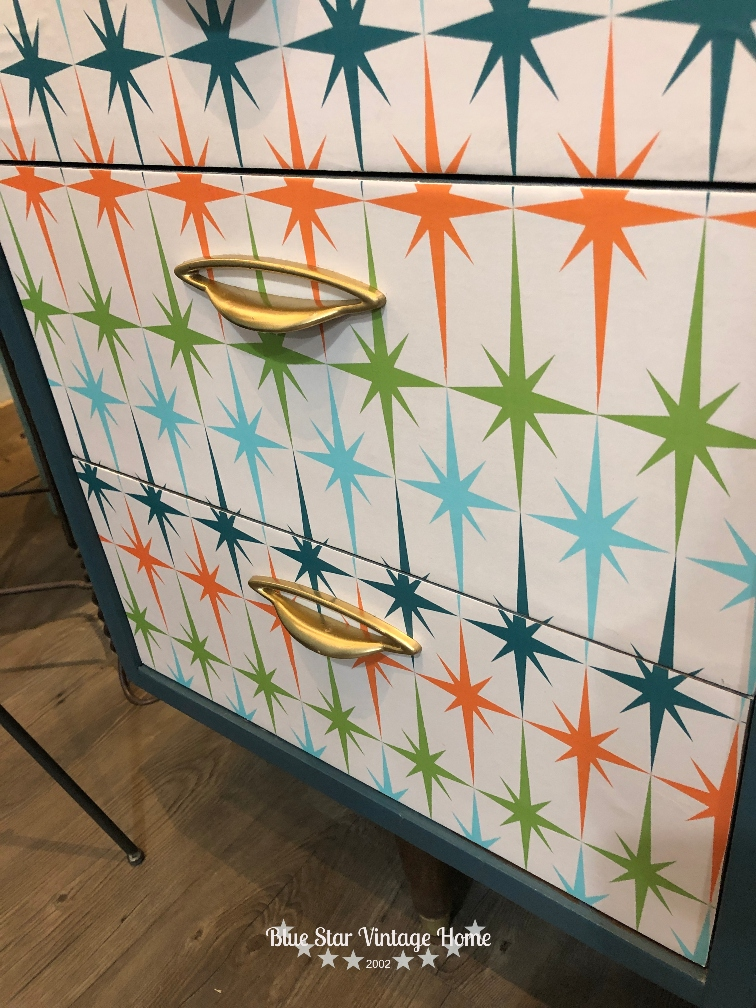 decoupage paper blue star vintage home An Unbelievable Mid Century Makeover