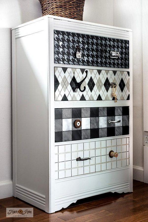 Fabric pattern stenciled dresser makeover 002 35cfce73 b522 44d2 8b90 Plaid Shirt Stencil