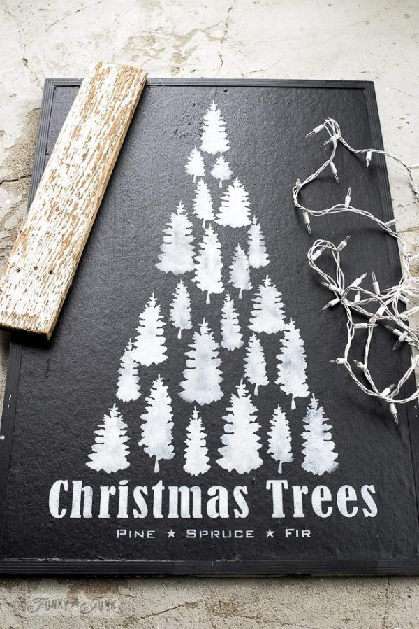 illuminated Christmas Trees bulletin board sign on a Christmas mantel Christmas Trees Stencil